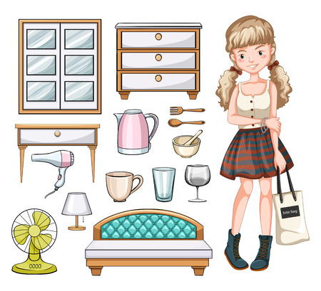 objects: Woman and household objects illustration Illustration