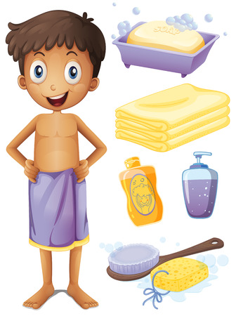 bubble bath: Man in towel and bathroom set illustration