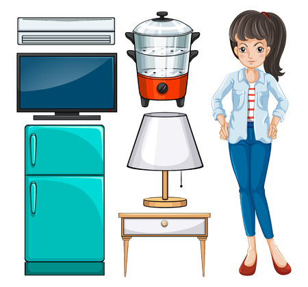household equipment: Woman and household equipment illustration