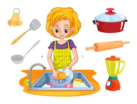 lavar trastes: Mujer lavando platos en el fregadero de la ilustración