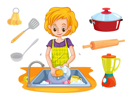 dishes: Woman washing dishes in the sink illustration