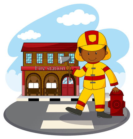 fire fighter: Fire fighter and fire station illustration Illustration