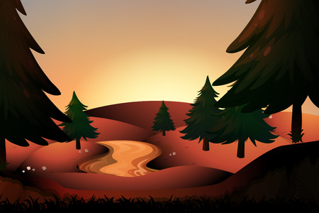 pine tree silhouette: Silhouette river running down hills illustration Illustration