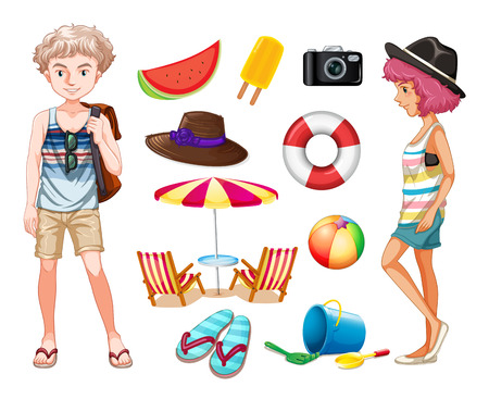 beachwear: Hipsters and beach objects illustration