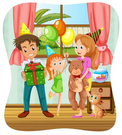 party cartoon: Family having birthday party illustration Illustration