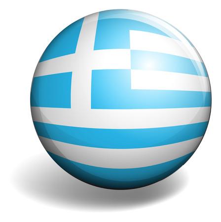 signal device: Greece flag on round badge illustration Illustration