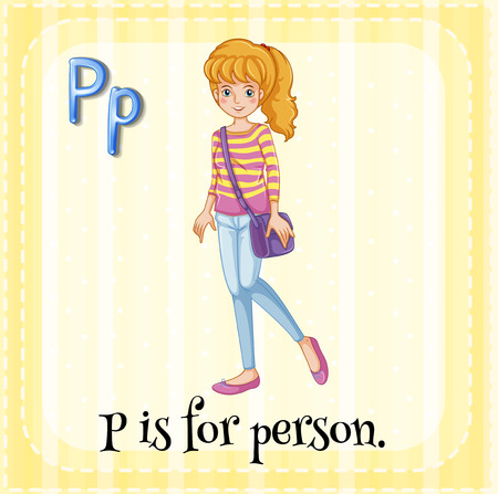 p illustration: Alphabet P is for person illustration Illustration