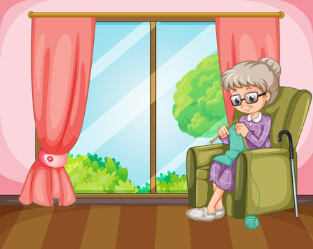 home clipart: Old lady knitting in the room illustration