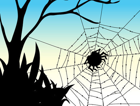 crawling creature: Silhouette spider on web illustration