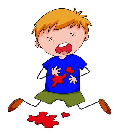 blood stain: Little boy with blood stain on shirt illustration Illustration
