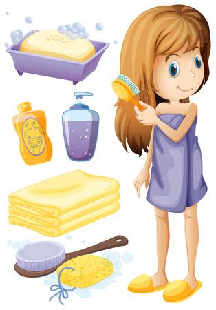 higiene: Mujer que se peina el pelo y set de baño ilustración