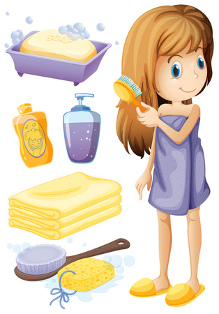 combing hair: Woman combing hair and bathroom set illustration