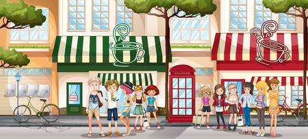 shopping people: People hanging out on the sidewalk by the shop illustration
