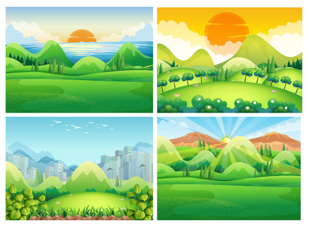 river: Four scenes of nature at daytime illustration
