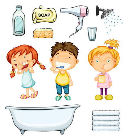 boy bath: Children and bathroom set illustration