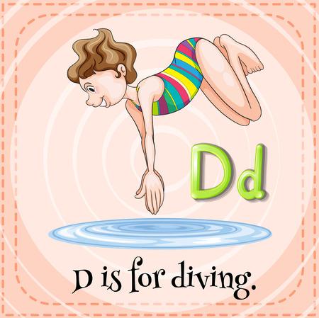 letter alphabet pictures: Alphabet D is for diving illustration