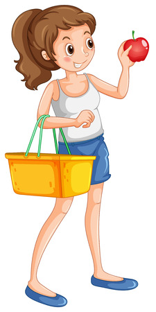 fruit basket: Woman shopping fresh ingredient illustration