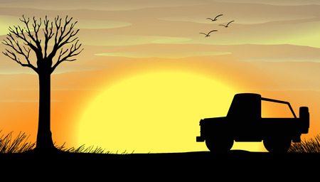 the jeep: Silhouette sunset scene with a truck illustration