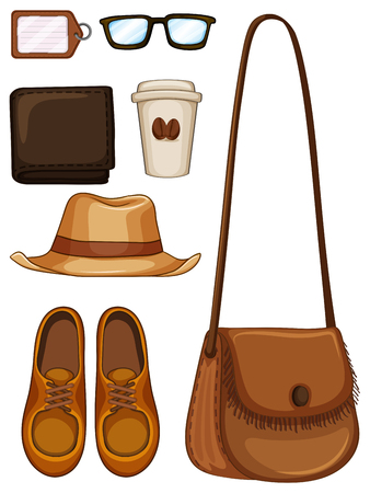 leather label: Hipster objects made of leather illustration