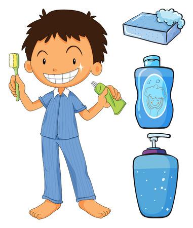 shampoo bottle: Boy in pajamas brushing teeth illustration Illustration