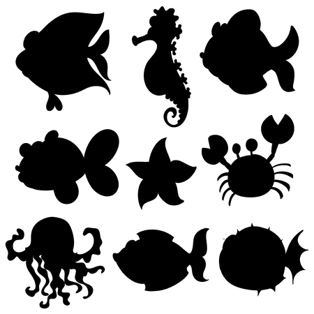 star fish: Set of aquatic animals in black illustration Illustration