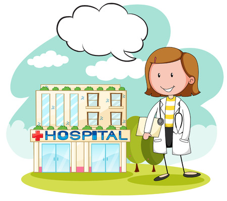 physician: Physician in front of hospital illustration Illustration
