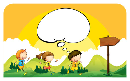 children running: Children running in the park illustration Illustration