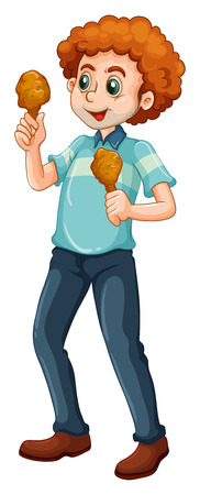 alone man: Man eating chicken alone illustration