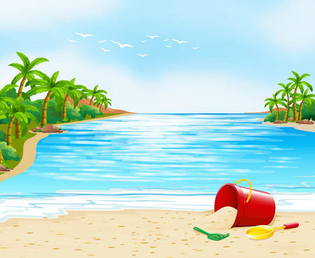 sand: Ocean view with bucket on the sand illustration Illustration