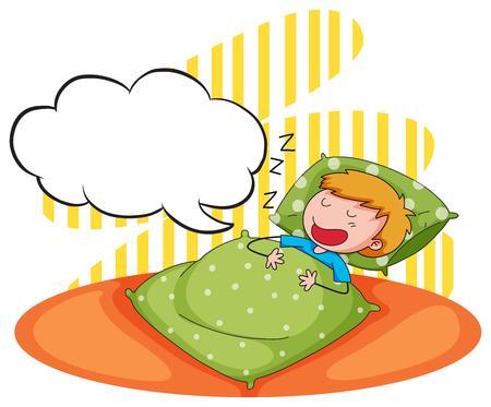 snoring: Boy sleeping and snoring illustration Illustration