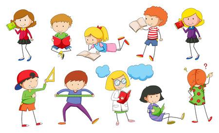ni�os estudiando: Conjunto de los ni�os que estudian la ilustraci�n Vectores