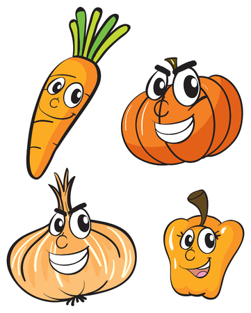 veggies: Vegetables with facial expressions illustration