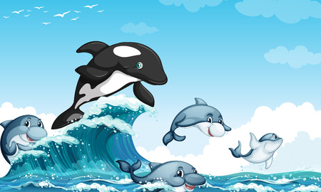 blue clip: Dolphines swimming in the ocean illustration