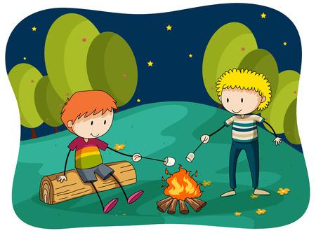 forest clipart: Boys at bornfire grilling food illustration Illustration