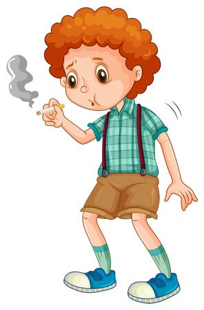 joven fumando: Niño pequeño tratando de fumar cigarrillos ilustración