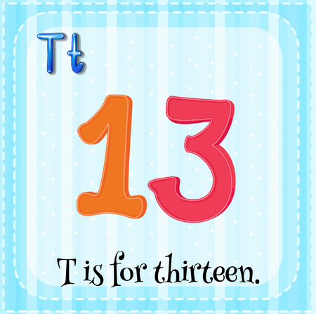 for: Flashcard of letter T illustration