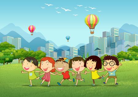 landschap: Kinderen spelen in het park illustratie