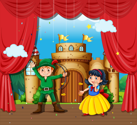 theater curtain: Children doing stage drama illustration