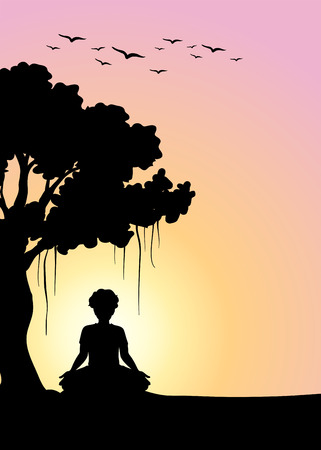 man meditating: Silhouette man meditating under the tree illustration Illustration