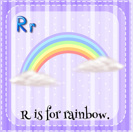 for: Flashcard of R is for rainbow illustration