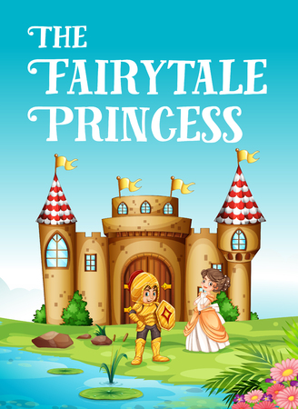 Fairy tale princess and knight illustration Illustration