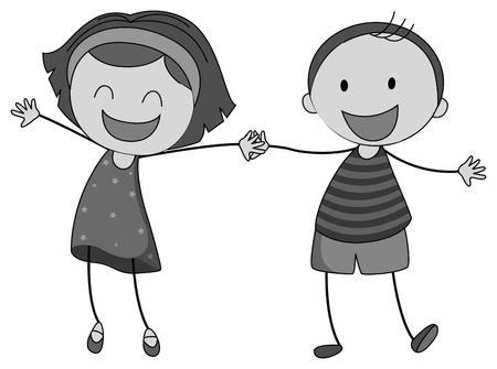 manos entrelazadas: Niño y una niña cogidos de la mano ilustración