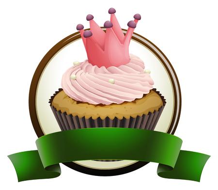 green ribbon: Cupcake with green ribbon illustration