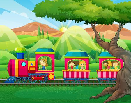 tren caricatura: Los niños que viajan en el ejemplo del tren Vectores