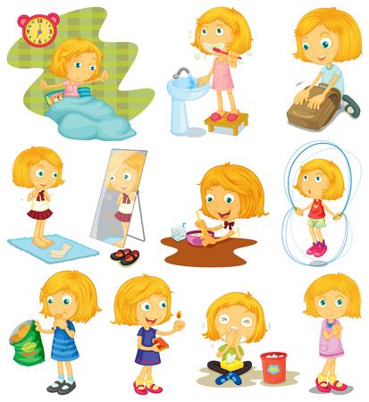 Dagelijkse routine van een meisje illustratie Stock Illustratie