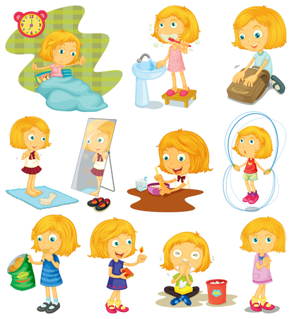 Daily routine of a girl illustration