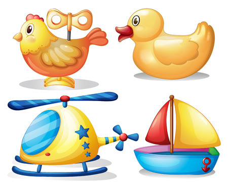 the hovercraft: Toy set with animals and transportation illustration