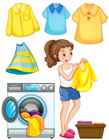 wet shirt: Woman doing laundry work illustration