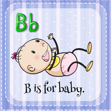 doodle art clipart: Alphabet B is for baby illustration