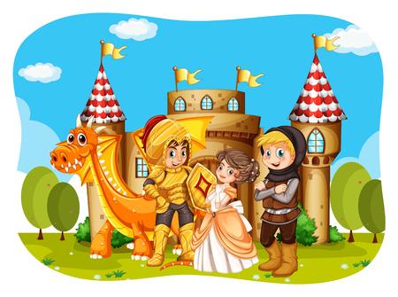 castillos: Princesa y caballeros de pie en frente de la ilustración del castillo